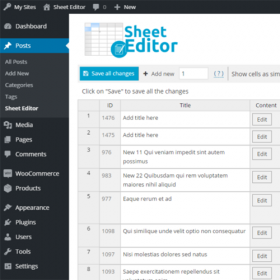 WP Sheet Editor – Editable Frontend Tables